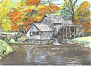 Autumn Landscape Drawings Framed Prints - Mabry Grist Mill in Virginia USA Framed Print by Carol Wisniewski