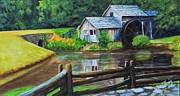 Mabry Framed Prints - Mabry Hill Grist Mill Framed Print by Shirl Theis