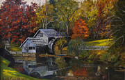 Mabry Paintings - Mabry Mill at Dusk by Aurelia Nieves-Callwood