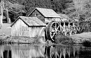 Mabry Framed Prints - Mabry Mill Black and White - Virginia Framed Print by Brendan Reals