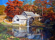 Grist Mill Paintings - Mabry Mill Blue Ridge Virginia by LaVonne Hand