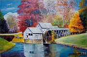 Grist Mill Paintings - Mabry Mill in Floyd County Virginia by Anne-Elizabeth Whiteway