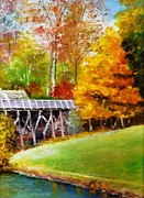 Grist Mill Paintings - Mabry Mill in Virginia  by Anne-Elizabeth Whiteway