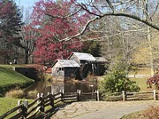 Red Bud Trees Prints - Mabry Mill Print by Jayne Pinnix