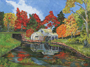 Mabry Mill Paintings - Mabry Mill by Nancy Herren-Jernigan