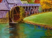 Grist Mill Paintings - Mabry Mill Side View  by Anne-Elizabeth Whiteway