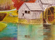 Grist Mill Paintings - Mabry Mill View II by Anne-Elizabeth Whiteway