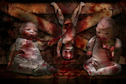 Creepy Photo Framed Prints - Macabre - Dolls - Having a friend for dinner Framed Print by Mike Savad