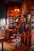 Dark Wood Table  Framed Prints - Macabre - In the Headhunters study Framed Print by Mike Savad