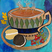 Robin Maria Pedrero Metal Prints - Macaroons and Tea Metal Print by Robin Maria  Pedrero