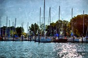 Docked Boat Digital Art Prints - Macatawa Masts Print by Michelle Calkins