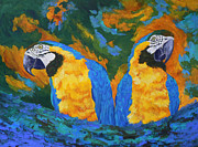 Amazon Parrot Paintings - Macaw Mates by Margaret Saheed
