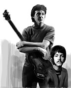 Beatles Drawings Metal Prints - Macca Paul McCartney Metal Print by Iconic Images Art Gallery David Pucciarelli