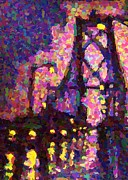 Halifax Digital Art Posters - MacDonald bridge halifax on a Rainy Night Poster by  Halifax Artist John Malone