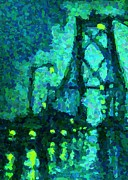 Art In Halifax Digital Art - MacDonald Bridge on Rainy Night in Halifax by John Malone