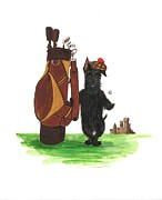 Birthday Present Paintings - MacDuff Plays Golf by Margaryta Yermolayeva