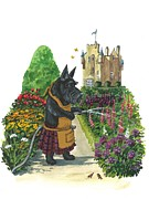Scottish Terrier Paintings - MacDuff the Gardener by Margaryta Yermolayeva
