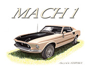 Ford Mustang Mixed Media Framed Prints - MACH 1 Mustang 351 Framed Print by Jack Pumphrey