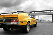 Racing Mustangs Prints - Mach1 Mustang Rear At The Drag Strip Print by Gill Billington