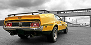 Racing Mustangs Posters - Mach1 Mustang Rear Panoramic At The Drag Strip Poster by Gill Billington