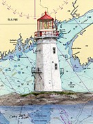 New England Lighthouse Paintings - Machais Seal Lighthouse ME Nautical Chart Map Art by Cathy Peek