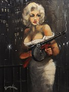 Noir Paintings - Machine Gun Madam by Tom Shropshire