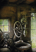 Machine Shop - An Old Drill Press Print by Mike Savad