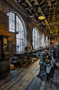 Wooden Structures Prints - Machine shop Print by Susan Candelario