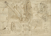 Artist Drawings Prints - Machines to lift water draw water from well and bring it into houses from Atlantic Codex  Print by Leonardo Da Vinci