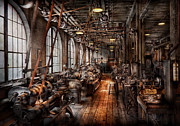 Steam-punk Prints - Machinist - A fully functioning machine shop  Print by Mike Savad