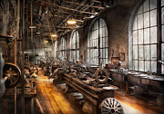 Workshop Prints - Machinist - A room full of Lathes  Print by Mike Savad