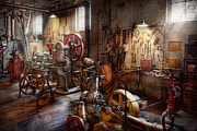 Hand Tools Framed Prints - Machinist - A room full of memories  Framed Print by Mike Savad