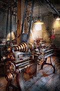 Workplace Metal Prints - Machinist - Fire Department Lathe Metal Print by Mike Savad