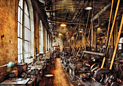 Sepia Photo Posters - Machinist - Machine Shop Circa 1900s Poster by Mike Savad