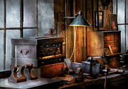 Lamps Prints - Machinist - My Workstation Print by Mike Savad