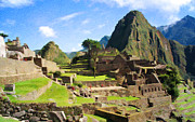 Machu Picchu Framed Prints - Machu Picchu Textured Framed Print by Chris Thaxter