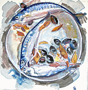 Mackerel Mussels Leaves Print by Grace Keown