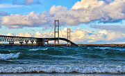 Mackinac Bridge Prints - Mackinac Among the Waves Print by Rachel Cohen