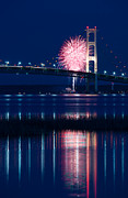 Blue Fireworks Prints - Mackinac Bridge Fireworks Print by Steve Gadomski