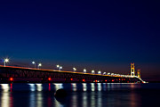 Mackinac Bridge Prints - Mackinac Bridge just after sunset Print by John McGraw