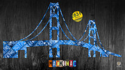 Great Mixed Media Posters - Mackinac Bridge Michigan License Plate Art Poster by Design Turnpike