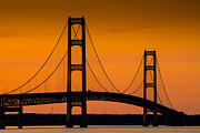 Mighty Framed Prints - Mackinac Bridge Sunset Framed Print by Steve Gadomski
