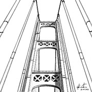 Mackinac Bridge Tower Print by Adam Vereecke
