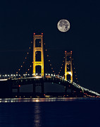 Night-scape Posters - Mackinac Bridge with moonrise Poster by Todd Bielby
