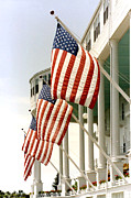 Flag Of The United States Framed Prints - Mackinac Island Michigan - The Grand Hotel - American Flags Framed Print by Kathy Fornal