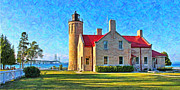 Mackinac Bridge Prints - Mackinac Lighthouse and Bridge Print by Jack Schultz