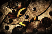 Machinery Pyrography Metal Prints - Macro Mechanic Metal Print by Svetoslav Sokolov