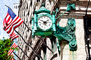 Flags Digital Art Framed Prints - Macys Clock in Chicago Framed Print by Paul Velgos