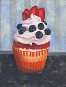 Black Diet Paintings - Mad Blueberries Cupcake by Marco Sivieri