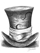Mad Hatter Drawings Prints - Mad Hat Print by J Ferwerda